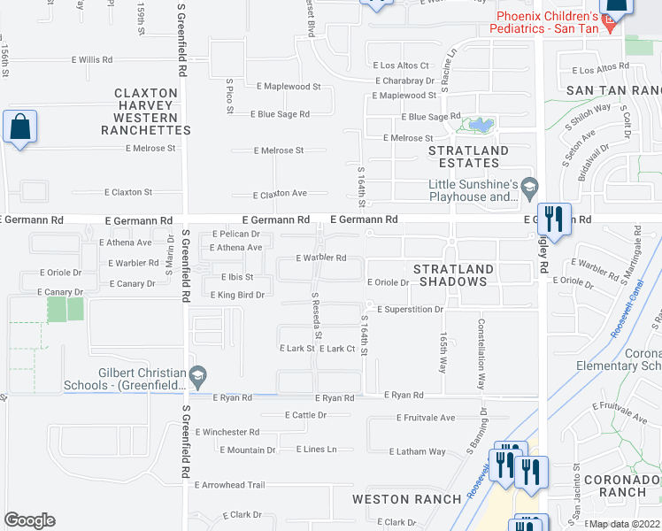 map of restaurants, bars, coffee shops, grocery stores, and more near 2723 East Warbler Road in Gilbert