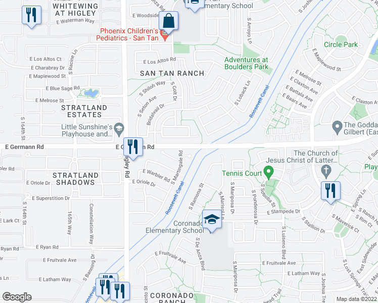 map of restaurants, bars, coffee shops, grocery stores, and more near 3444 East Flamingo Drive in Gilbert
