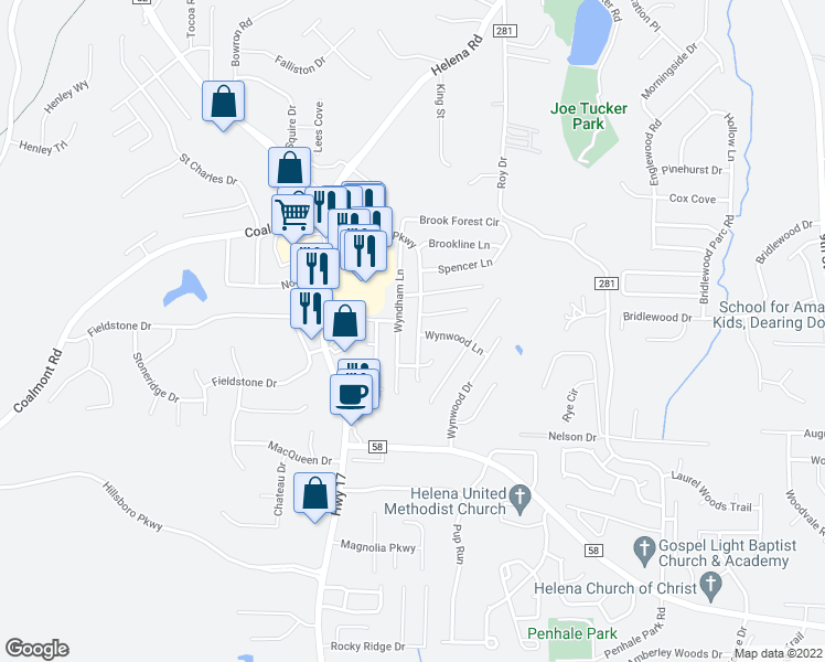 map of restaurants, bars, coffee shops, grocery stores, and more near 7418 Wyndham Parkway in Helena