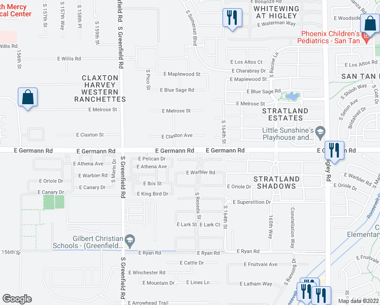 map of restaurants, bars, coffee shops, grocery stores, and more near 2687 East Germann Road in Gilbert