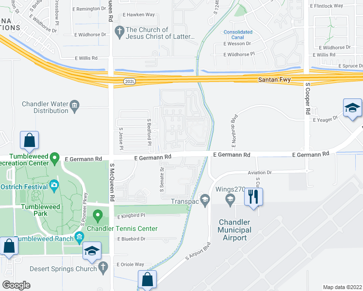 map of restaurants, bars, coffee shops, grocery stores, and more near 1335 East Marlin Drive in Chandler