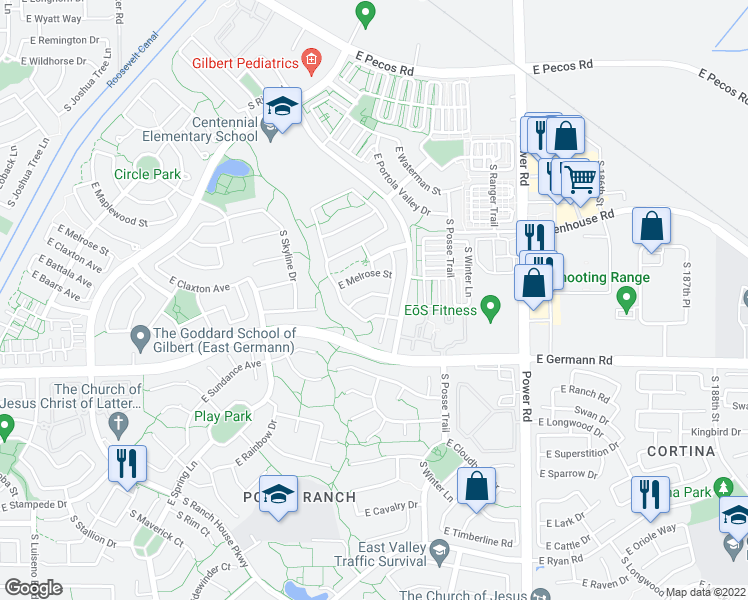 map of restaurants, bars, coffee shops, grocery stores, and more near 4503 East Trigger Way in Gilbert