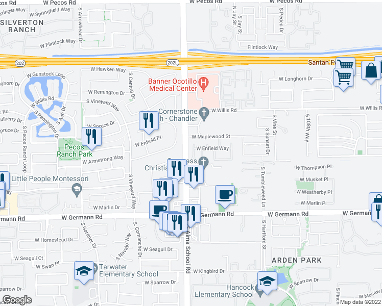 map of restaurants, bars, coffee shops, grocery stores, and more near 1700 South Emerson Place in Chandler