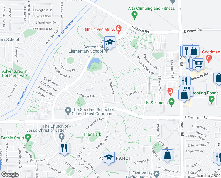 map of restaurants, bars, coffee shops, grocery stores, and more near 4319 East Blue Sage Court in Gilbert