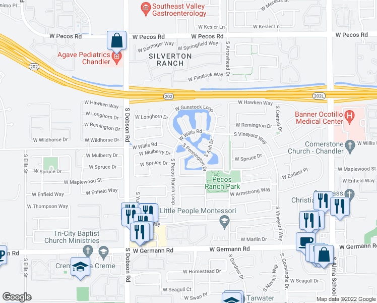 map of restaurants, bars, coffee shops, grocery stores, and more near 1604 South Villas Lane in Chandler