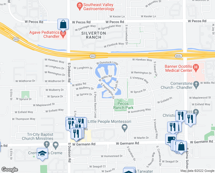 map of restaurants, bars, coffee shops, grocery stores, and more near 1563 South Pennington Drive in Chandler