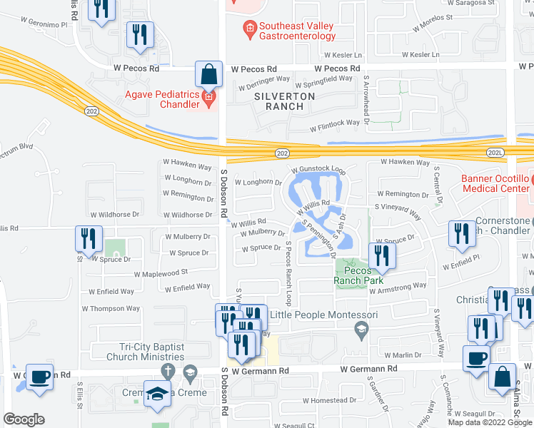 map of restaurants, bars, coffee shops, grocery stores, and more near 1831 West Wildhorse Drive in Chandler