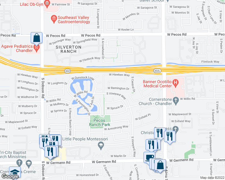 map of restaurants, bars, coffee shops, grocery stores, and more near 1415 West Remington Drive in Chandler
