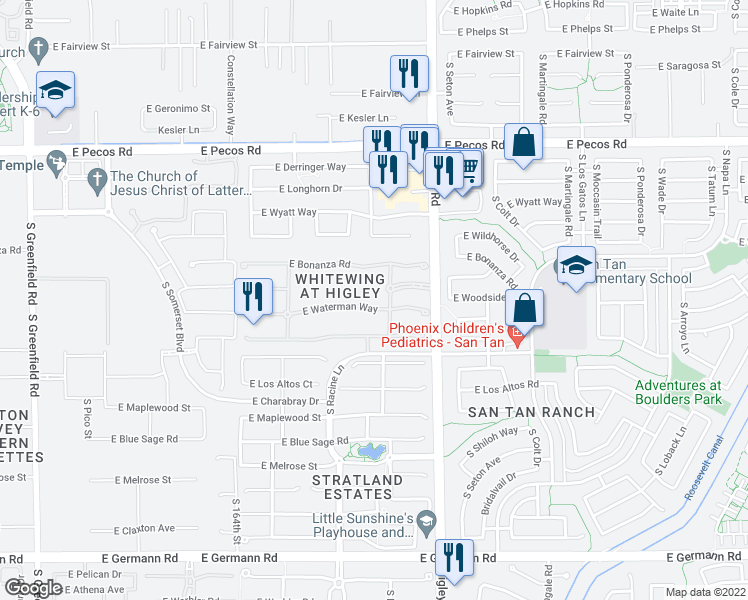 map of restaurants, bars, coffee shops, grocery stores, and more near 3078 East Waterman Way in Gilbert