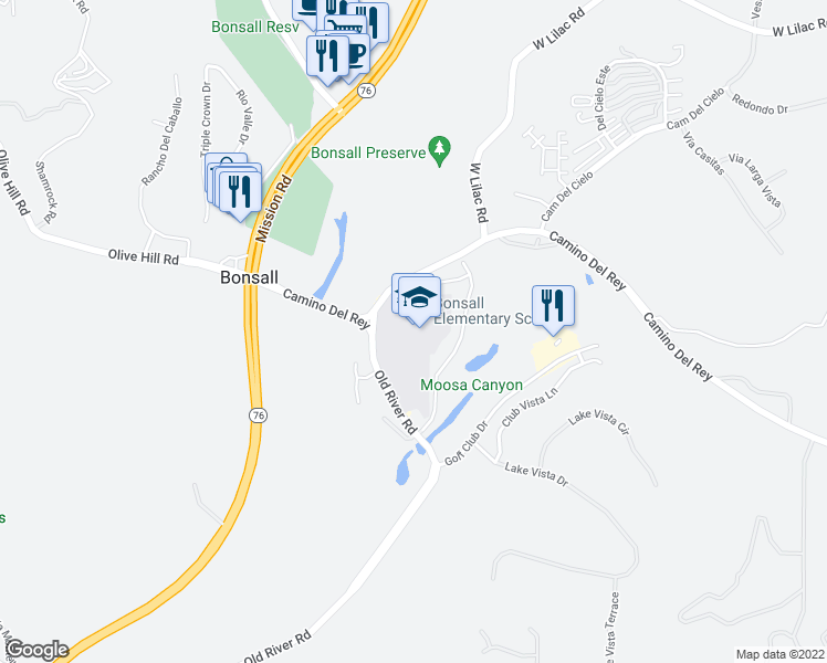 map of restaurants, bars, coffee shops, grocery stores, and more near 31505 Old River Road in Bonsall