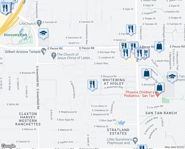map of restaurants, bars, coffee shops, grocery stores, and more near 2836 East Bonanza Court in Gilbert