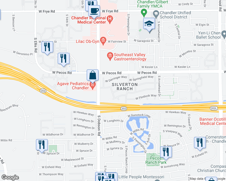 map of restaurants, bars, coffee shops, grocery stores, and more near 1890 West Browning Way in Chandler