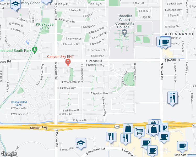 map of restaurants, bars, coffee shops, grocery stores, and more near 2385 East Browning Place in Chandler