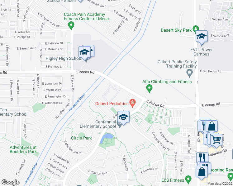 map of restaurants, bars, coffee shops, grocery stores, and more near 4255 East Pecos Road in Gilbert