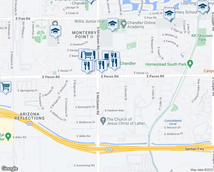 map of restaurants, bars, coffee shops, grocery stores, and more near 1042 South Bedford Place in Chandler