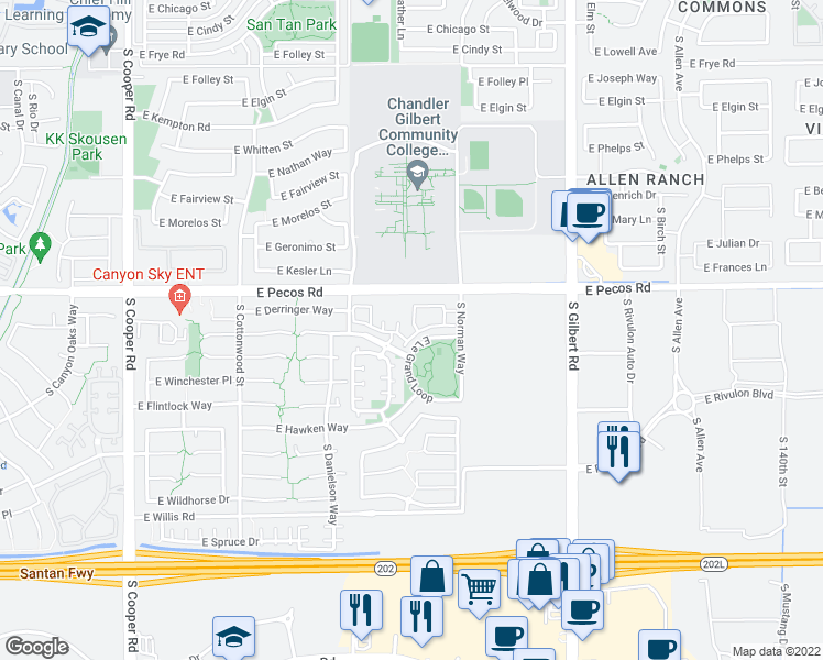 map of restaurants, bars, coffee shops, grocery stores, and more near 2600 East Springfield Place in Chandler