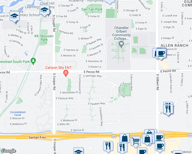 map of restaurants, bars, coffee shops, grocery stores, and more near 2391 East Derringer Way in Chandler