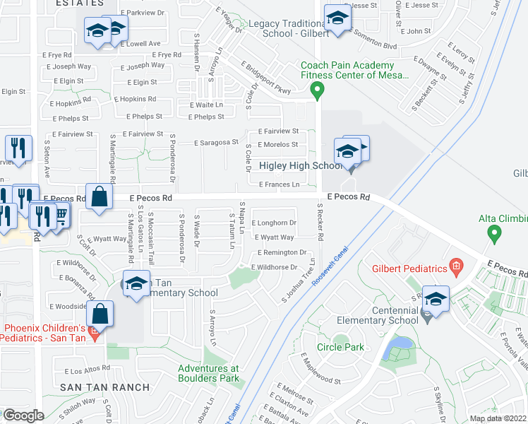 map of restaurants, bars, coffee shops, grocery stores, and more near 3843 East Derringer Way in Gilbert