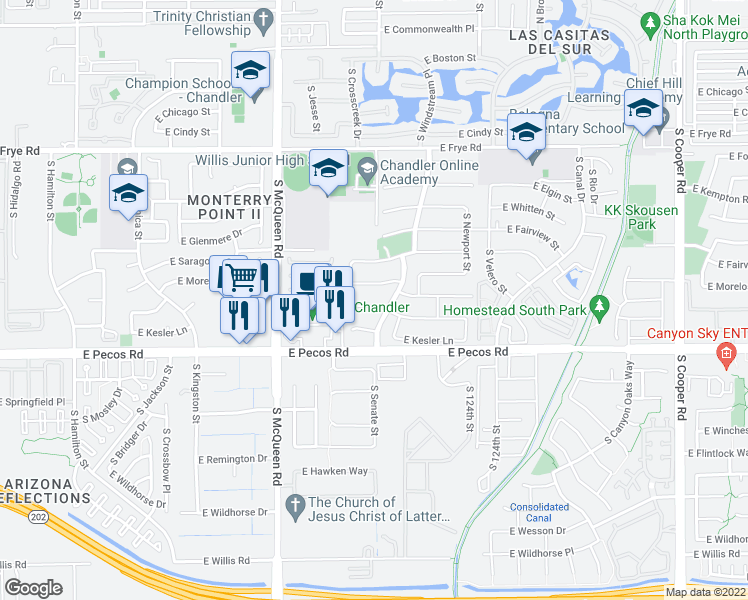 map of restaurants, bars, coffee shops, grocery stores, and more near 1242 East Geronimo Place in Chandler