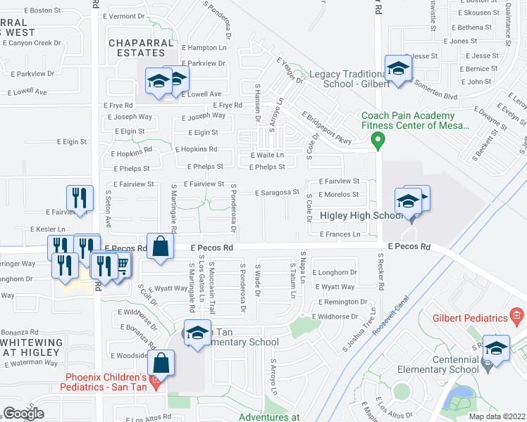 map of restaurants, bars, coffee shops, grocery stores, and more near 16914 South 172nd Way in Gilbert