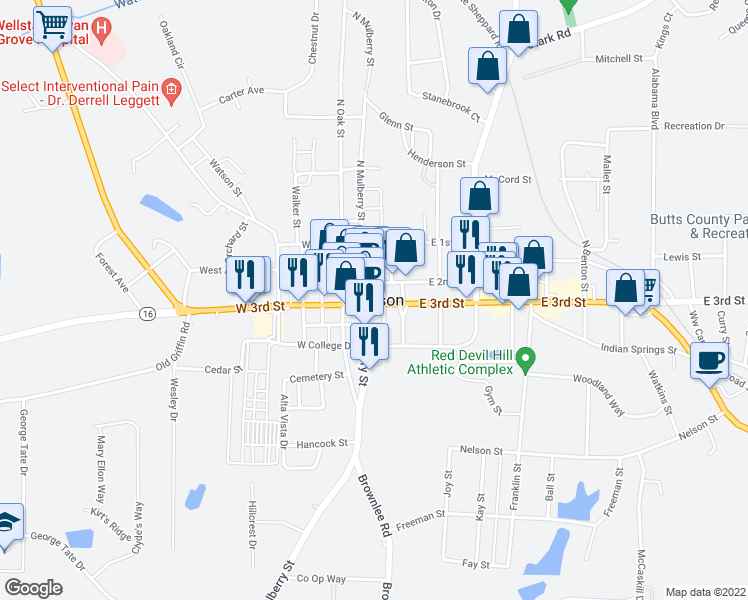 map of restaurants, bars, coffee shops, grocery stores, and more near Jackson Street in Jackson