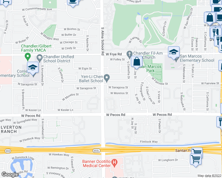 map of restaurants, bars, coffee shops, grocery stores, and more near 961 West Saragosa Street in Chandler