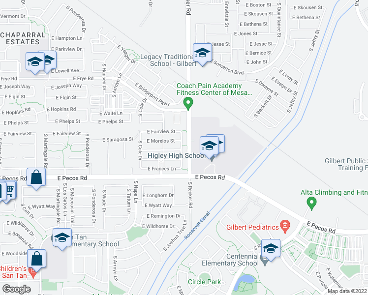 map of restaurants, bars, coffee shops, grocery stores, and more near 3087 South Joshua Tree Lane in Gilbert
