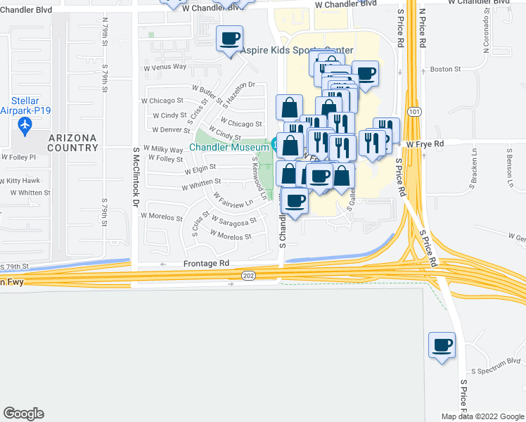 map of restaurants, bars, coffee shops, grocery stores, and more near 601 South Kenwood Lane in Chandler