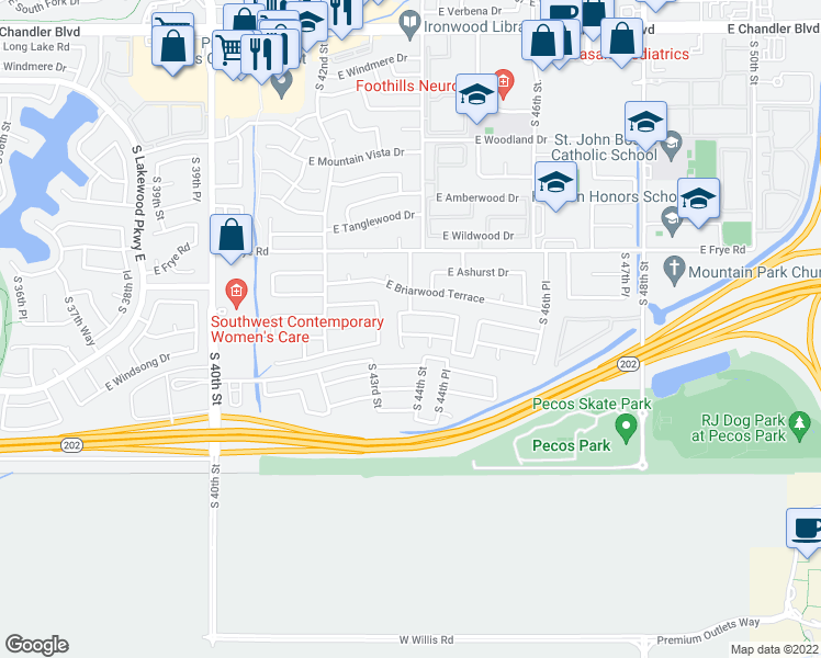 map of restaurants, bars, coffee shops, grocery stores, and more near 4318 East Windsong Drive in Phoenix