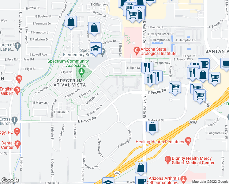 map of restaurants, bars, coffee shops, grocery stores, and more near 1456 East Pecos Road in Gilbert