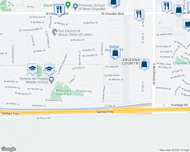 map of restaurants, bars, coffee shops, grocery stores, and more near 4583 West Elgin Street in Chandler