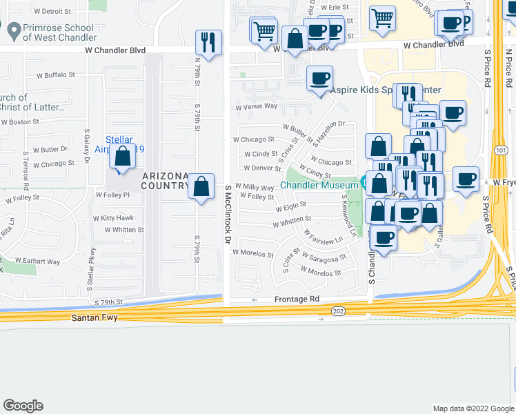 map of restaurants, bars, coffee shops, grocery stores, and more near 3842 West Elgin Street in Chandler