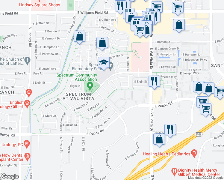 map of restaurants, bars, coffee shops, grocery stores, and more near 2908 S Nielson St in Gilbert