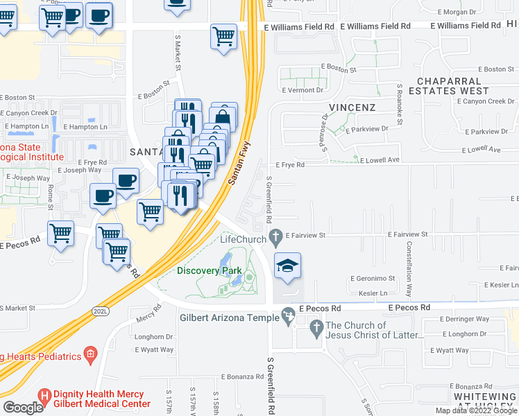 map of restaurants, bars, coffee shops, grocery stores, and more near 2910 South Greenfield Road in Gilbert