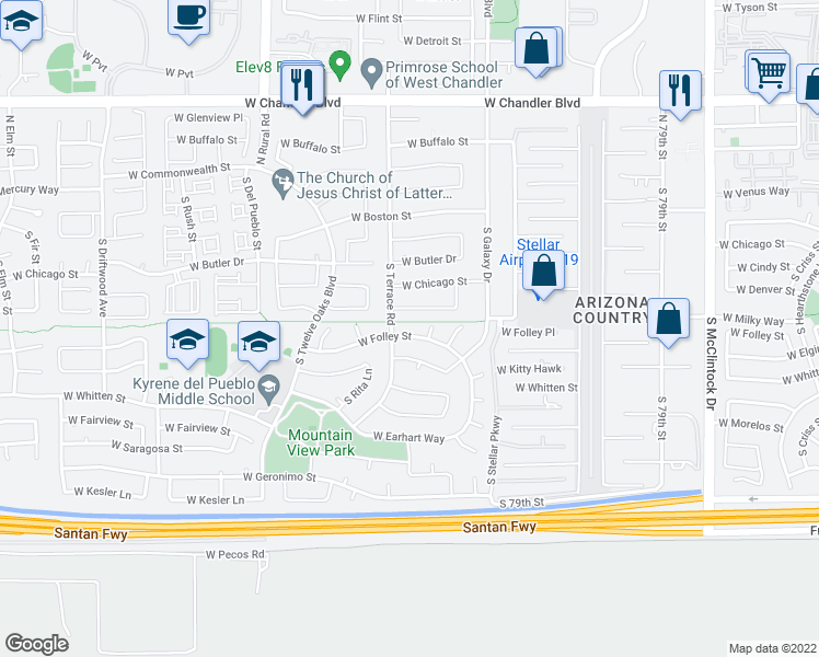 map of restaurants, bars, coffee shops, grocery stores, and more near 4686 West Folley Street in Chandler