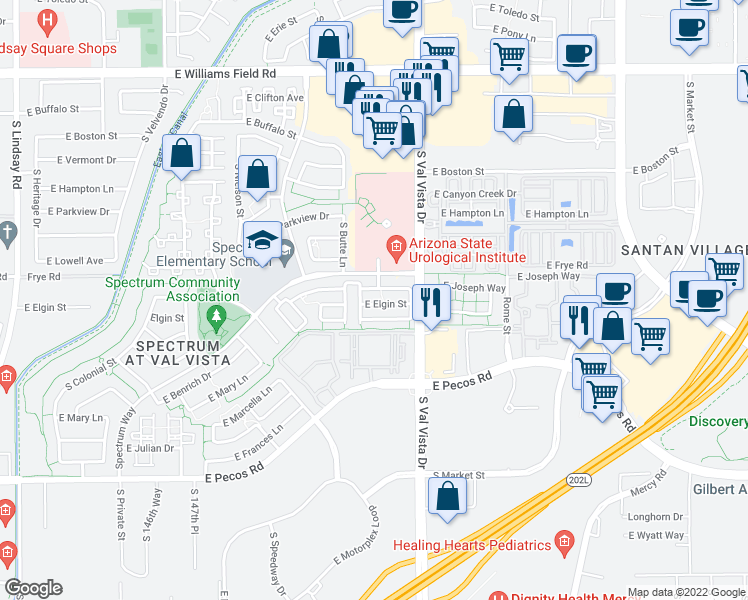 map of restaurants, bars, coffee shops, grocery stores, and more near 1514 East Elgin Street in Gilbert