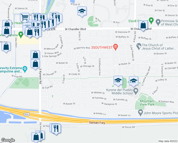 map of restaurants, bars, coffee shops, grocery stores, and more near 260 South Pineview Place in Chandler
