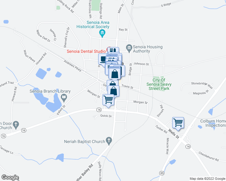 map of restaurants, bars, coffee shops, grocery stores, and more near 68 Broad Street in Senoia