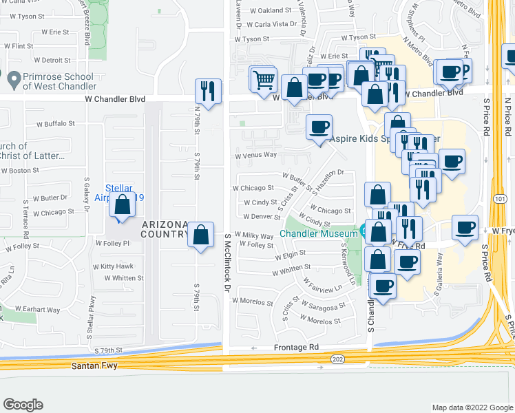 map of restaurants, bars, coffee shops, grocery stores, and more near 3931 West Cindy Street in Chandler