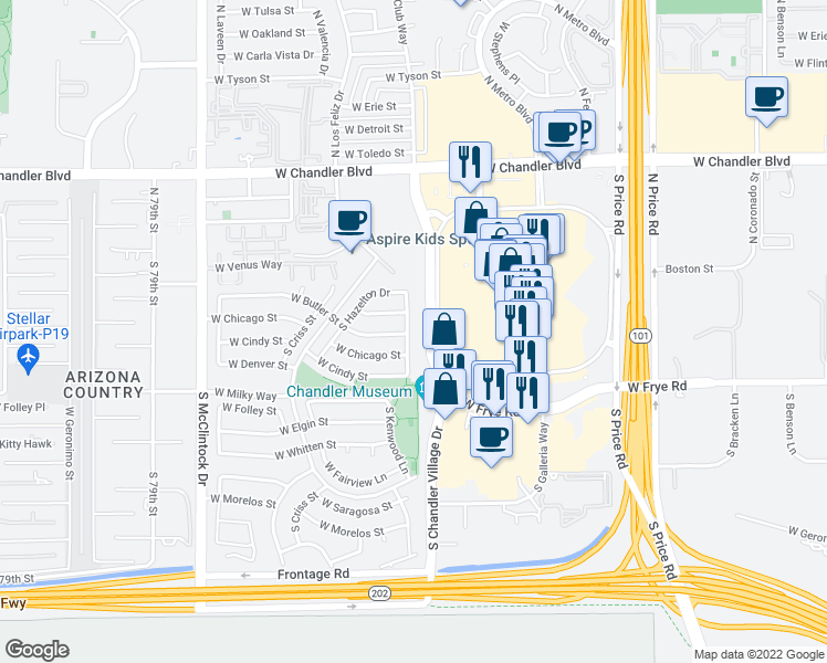 map of restaurants, bars, coffee shops, grocery stores, and more near 207 South Kenwood Lane in Chandler