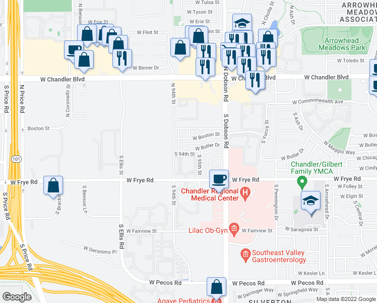 map of restaurants, bars, coffee shops, grocery stores, and more near 2239 West Butler Drive in Chandler