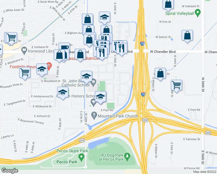 map of restaurants, bars, coffee shops, grocery stores, and more near 16160 South 50th Street in Phoenix
