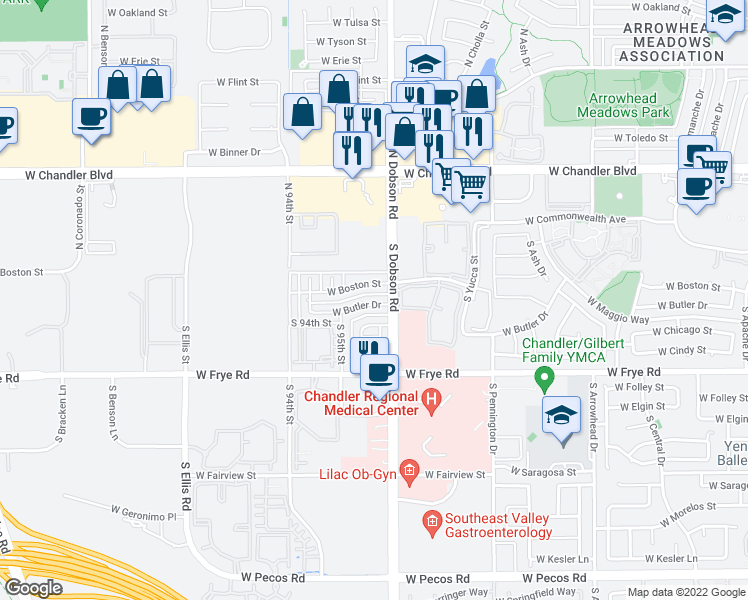 map of restaurants, bars, coffee shops, grocery stores, and more near 2048 West Butler Drive in Chandler