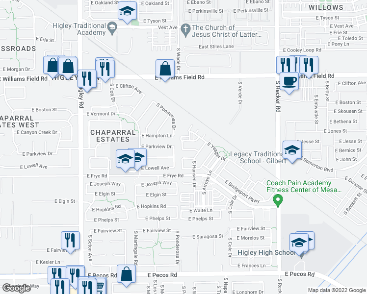 map of restaurants, bars, coffee shops, grocery stores, and more near 3622 East Parkview Drive in Gilbert