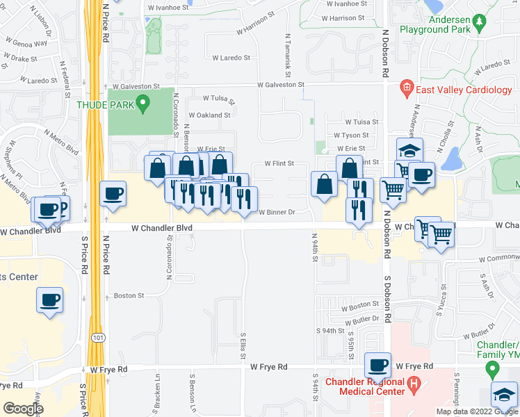 map of restaurants, bars, coffee shops, grocery stores, and more near 2452 West Binner Drive in Chandler