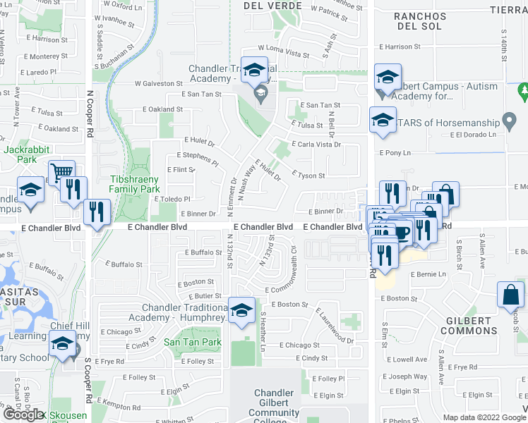 map of restaurants, bars, coffee shops, grocery stores, and more near 2611 East Binner Drive in Chandler