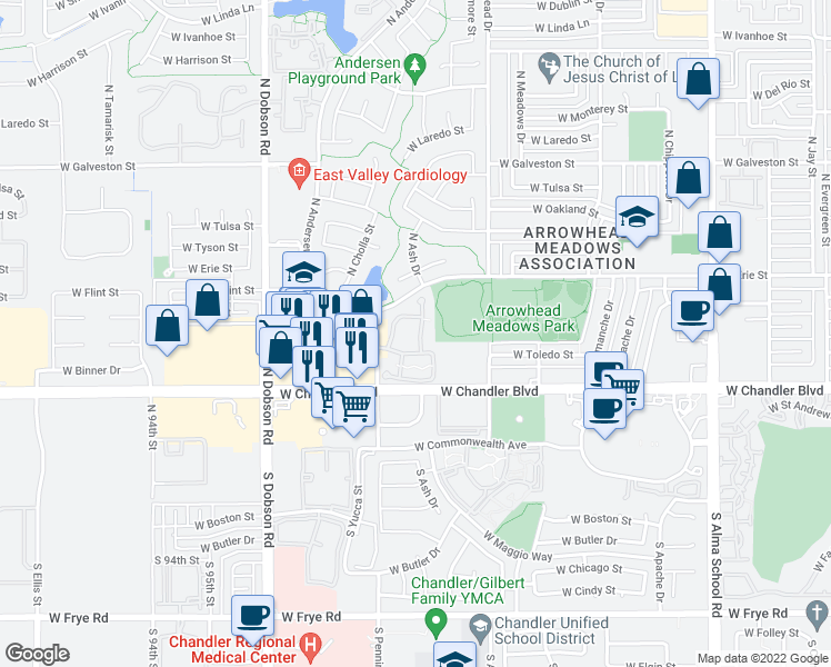 map of restaurants, bars, coffee shops, grocery stores, and more near 333 North Pennington Drive in Chandler