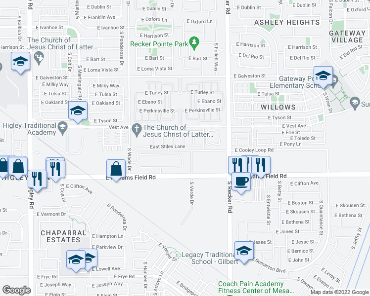 map of restaurants, bars, coffee shops, grocery stores, and more near 3823 E STILES LN in Gilbert