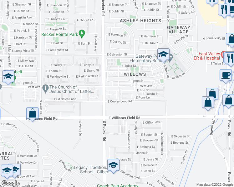 map of restaurants, bars, coffee shops, grocery stores, and more near 2245 South Sabino Drive in Gilbert
