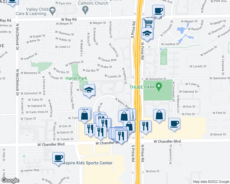 map of restaurants, bars, coffee shops, grocery stores, and more near 500 North Metro Boulevard in Chandler